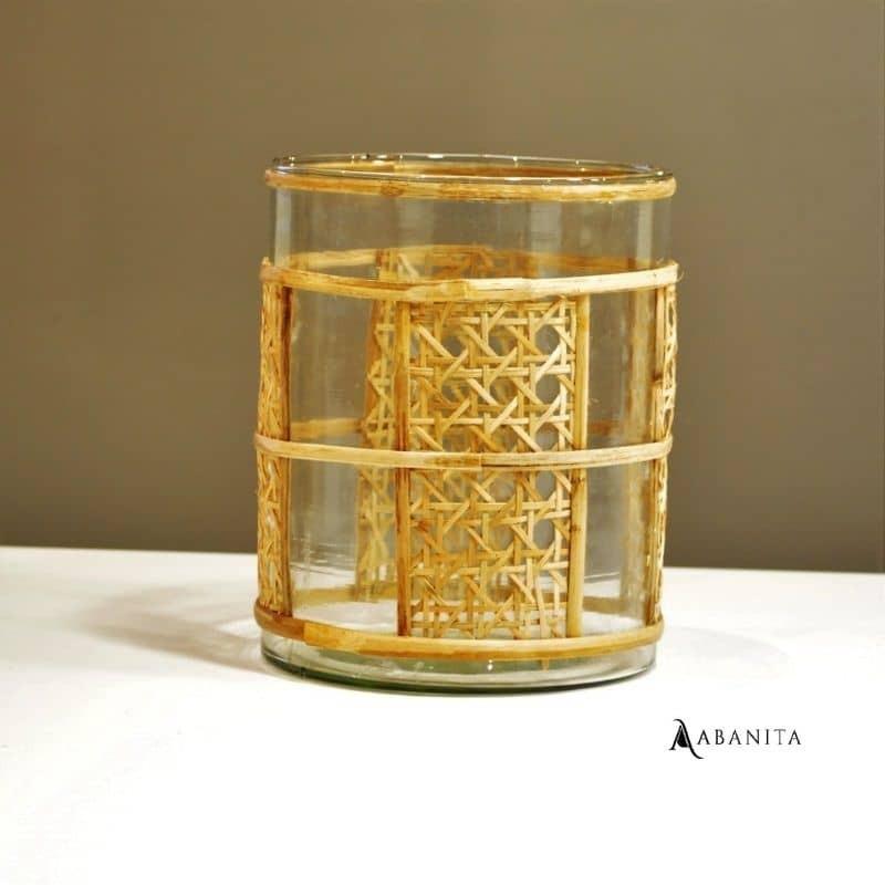 vase rond osier et verre hauteur 19 cm