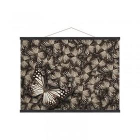 Toiles sur baguettes bois noir papillons 50 X 70 cm