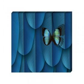 Toile plumes et papillons bleu profond