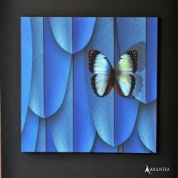 Tableau plumes bleues et papillons