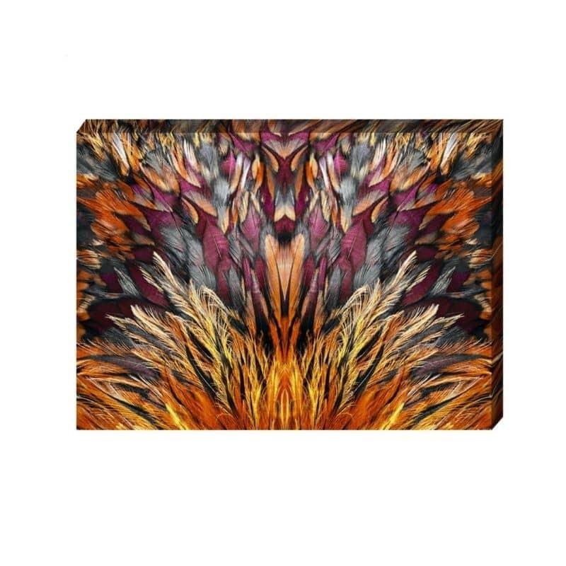 Toile plumes nuances orangées 100 X 140 cm