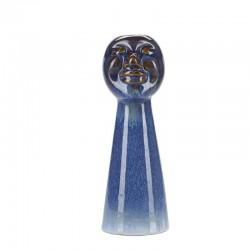 Bougeoir Face en céramique bleu