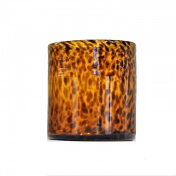 Vase rond en verre nuance brun