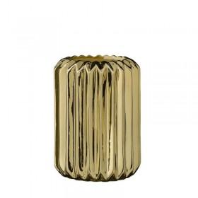Vase en céramique doré plissé