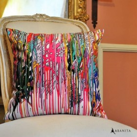 Coussin impression Multi dripping