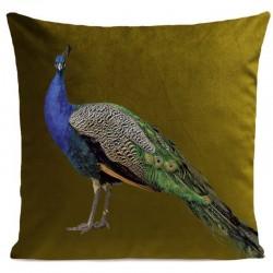 Coussin aspect velours vert olive imprimé royal peacock