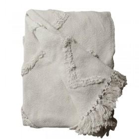 plaid coton écru à franges