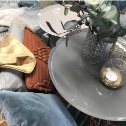 table d'appoint avec plateau en métal laqué gris