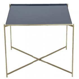 Table d'appoint carré bleu/doré