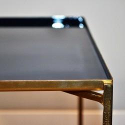 table basse métal bleu laqué