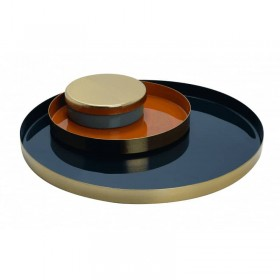 Ensemble plateaux métal laqué bleu/cayenne