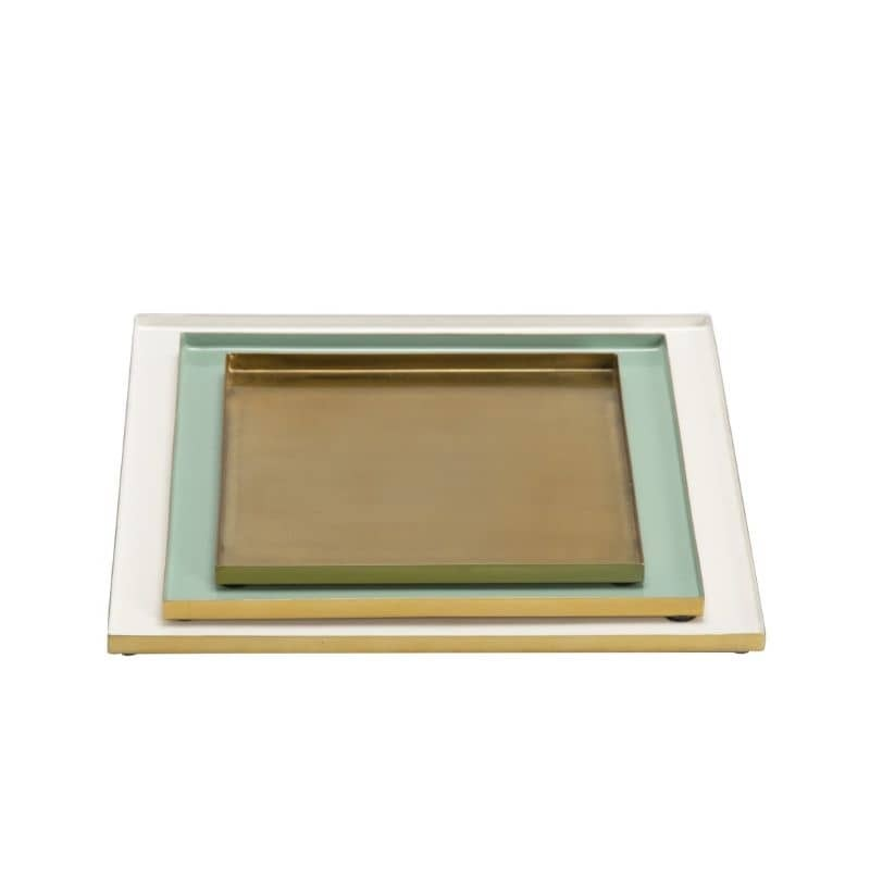 Plateau déco vert menthe/blanc/doré