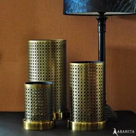 Lanterne métal avec socle doré