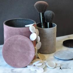 Boîtes à bijoux rondes suédine rose/gris