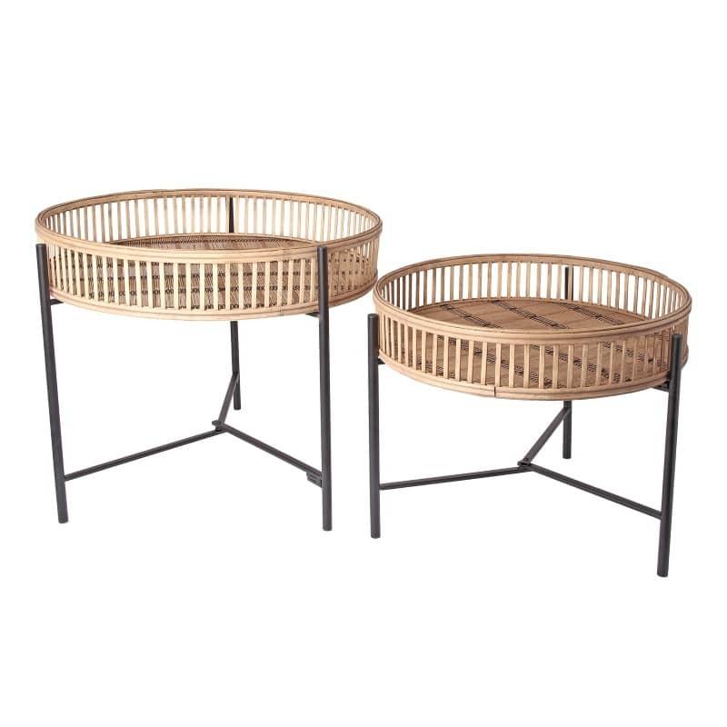 Set de 2 tables d'appoint en bambou