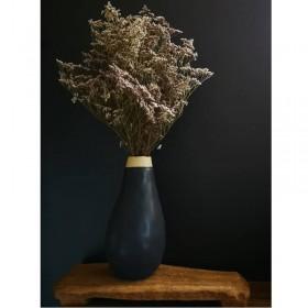 Vase noir en grès fait main hauteur : 27 cm