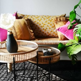 tables d'appoint gigogne en bambou et osier