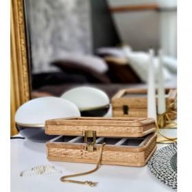Boite à bijoux en rotin et intérieur velours gris Nordal