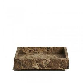 Plateau en Marbre brun carré