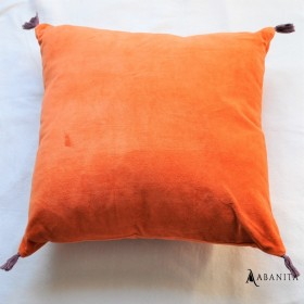 coussin velours coloris orange